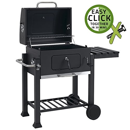 Toronto Charcoal BBQ Grill - Easy Click Together Design with Side Table and Grid in Grid System