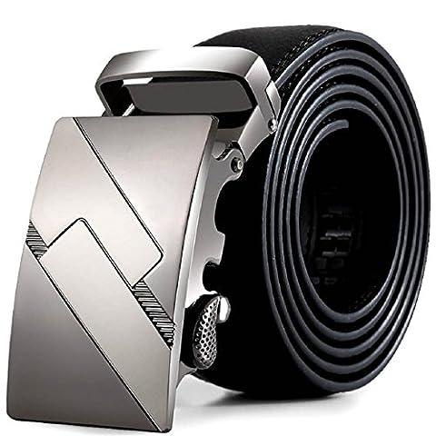 Malloom® Men PU Leather Automatic Buckle Belts Fashion Waist Strap Belt Waistband (Pattern 4)