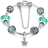 JGDF Colgante de Margarita de Plata esterlina, Cristal Verde Cuentas de Cristal de Murano Charm Bracelet Joyería de Plata esterlina