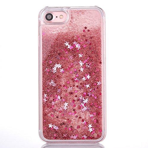 iPhone 7 Plus Hülle,Mo-Beauty® Schutzhülle iPhone 7 Plus Hülle Transparent Hardcase,Dynamisch Treibsand Flüssige Fließend Wasser Schutzhülle 3D Kreative Liquid Bling Hülle Case Glitzer Glitter Shiny G Pink,Star