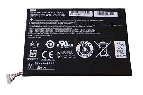 vhbw Akku 7300mAh (3.7V) für Tablet Pad Netbook Acer Iconia A3-A10, Acer Iconia A3-A11 wie 1ICP4/83/103-2, AP12D8K. (Mini Acer Akku)
