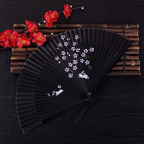 ZYHMXM Faltventilator, Chinesische Klassische Handgemachte Kirschholz Knochen Hohl Schwarz Faltventilator Ventilator Büro Wohnzimmer Schlafzimmer Wanddekoration Dekoration -