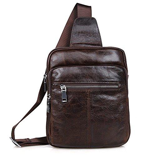 AFCITY Herren Unwucht Chest Pack aus Echtem Leder Mehrzweck Rucksack Crossbody Umhängetasche Travel Sling Bag