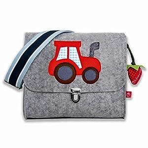 la fraise rouge: Kindergartentasche Filztasche für Jungs mit Namen & Traktor