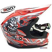 3GO X10-K NIÑOS CRÁNEO DISEÑO MOTOCROSS QUAD ATV ENDURO OFF ROAD CASCO ROJO CON GAFAS (L (51 - 52 CM))