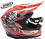 3GO X10-K BAMBINI CRANIO DESIGN MOTOCROSS QUAD ATV ENDURO OFF ROAD CASCO ROSSO CON OCCHIALI (M (49 - 50 CM))