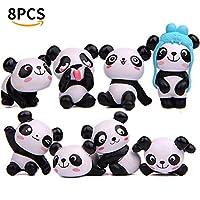 Panda Toys Figurines Set - Cute Panda Animal Playset Action Figures Party Favors/Cake Decoration 1 Set 8 Pcs