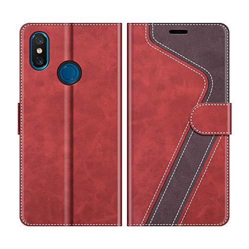MOBESV Funda para Xiaomi Mi 8, Funda Libro Xiaomi Mi 8, Funda Móvil Xiaomi Mi 8 Magnético Carcasa para Xiaomi Mi 8 Funda con Tapa, Rojo