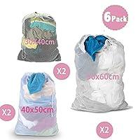 DoGeek-Laundry Bags- White Mesh Washing Bags Large Laundry Bag - For Washing Machine (6 PCS)