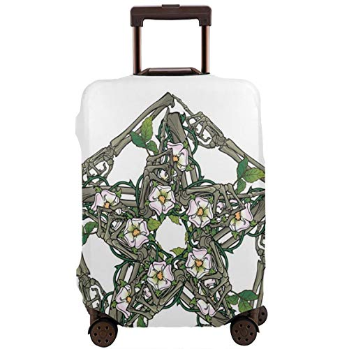 Travel Luggage Cover,Halloween Pentagram with Skeleton Bones and Dog-Rose Flowers Suitcase Protector Bone China Flower
