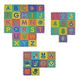 VeloVendo® - Tappeto Puzzle con Certificato CE e Testato TÜV Rheinland in soffice Schiuma Eva | Tappeto da Gioco per Bambini | Tappetino Puzzle (Lettere+Numeri+Animali)