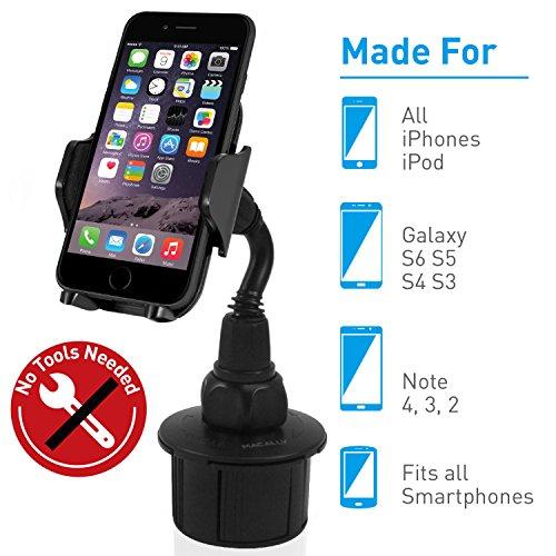 Macally MCUPXL, Verstellbare Autohalterung mit Schwanenhals für iPhone, Smartphone und Mobiltelefon, zum Einsatz im Becherhalter (Macally Iphone 5)