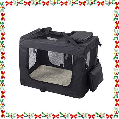 Wellhome Bolsa de Transporte Perro Transportín para Perros Gatos Capazo Portador Tela Mascotas Portátil Plegable M: 60x42x42cm Negro