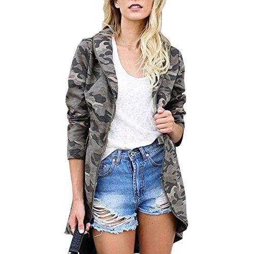 LAEMILIA Damen Camouflage Jacke Frühling Slim Fit Beiläufig Straße Jacke Military Army Cardigan Sweatjacke Streetwear