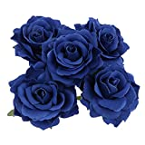 Baoblaze 5X Künstliche Rose Köpfe Seidenblumen Blumenstrauß Haus Hochzeit Dekoration - Blau