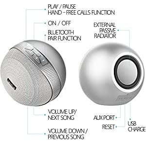 COMISO HomeAudio 40W Bluetooth Speakers, Loud Dual Driver Hi-Fi Wireless Bluetooth Speaker with HD Audio and Enhanced Bass, Wireless Stereo, Built in Mic, Aux Input, Long-Lasting Battery Life (Grey) 2