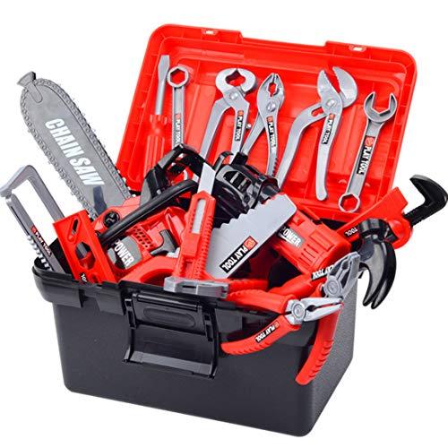 Batop 32Stück Kinder Werkzeugkoffer Spielzeug mit Manuelle Bohrmaschine, Schraubenschlüssel und Säge, Rollenspiel Spielzeug Set für Kinder
