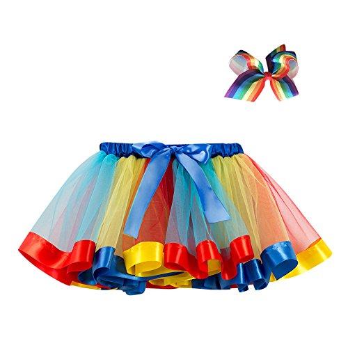 Lazzboy Mädchen Kinder Tutu Party Tanz Ballett Kleinkind Baby Kostüm Rock + Bogen Haarnadel Regenbogen Tüllrock Tütü Ballettrock Tanzkleid Ballettkleid Ballettröckchen (Engel Bögen Tanz Kostüme)
