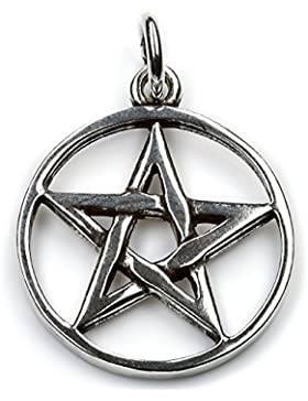 Pentagramm Schmuck Kette 925 Silber, Anhänger Länge mit Öse: 32mm Drudenfuß