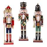 SM SunniMix Mehrfarbig 30 cm Holz Holz Nussknacker Soldaten Figuren Modell für Christbaumschmuck Dekoration