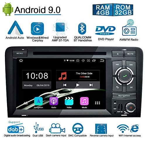 Ohok 7 Zoll Bildschirm 2 Din Autoradio Android 9.0 Pie Octa Core 4G+32G Radio mit Navi Moniceiver DVD GPS Navigation Unterstützt Bluetooth WLAN DAB+ OBD2 für Audi A3 2003-2013