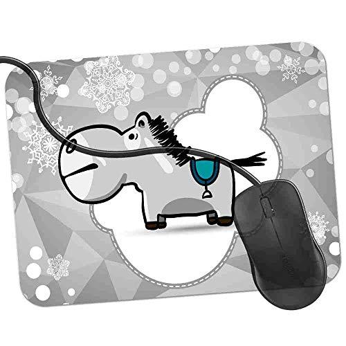 Gaming Mauspad Graues Pferd Mit Blauem Sattel Fransenfreie Ränder spezielle Oberfläche verbessert Geschwindigkeit und Präzision rutschfest 2K537 -