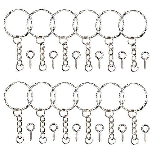 Gudotra (300 packs 150 pz anelli per portachiavi catena argento con 150 pz viti a occhiello per fai da te come e braccialetti