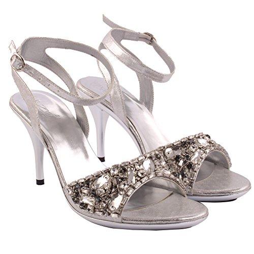 Unze Neue Frauen Damen LIMELIGHT Verschönert Abend Party Hochzeit Prom Slingback High Heel Sandalen Schuh UK Größe 3-8 - 2274 Silber