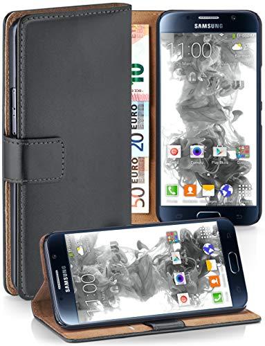 moex® Booklet mit Flip Funktion [360 Grad Voll-Schutz] für Samsung Galaxy S6 | Geldfach und Kartenfach + Stand-Funktion und Magnet-Verschluss, Dunkel-Grau