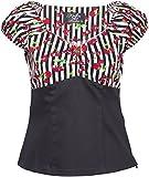 Küstenluder Damen Oberteil Sheila Streifen Kirschen Bluse Schwarz M