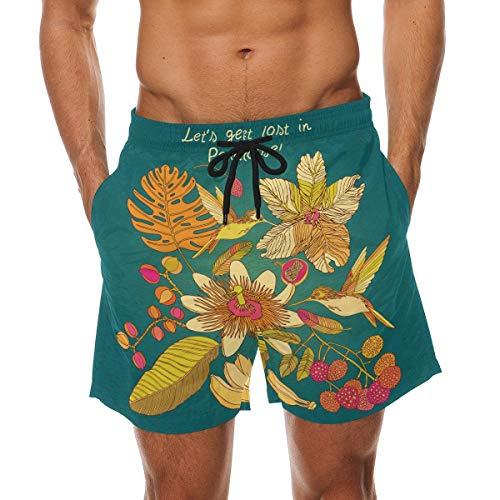 BHWYK Men's Summer Hummingbirds Elements Beach Board Shorts Quick Dry Swim Trunkfor Summer Vacations M-XXL Code(M) - Arbor Element