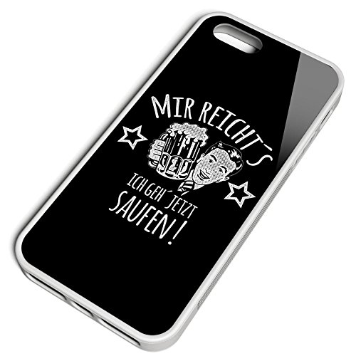 Smartcover Case Mir reichts ich geh saufen z.B. für Iphone 5 / 5S, Iphone 6 / 6S, Samsung S6 und S6 EDGE mit griffigem Gummirand und coolem Print, Smartphone Hülle:Iphone 6 / 6S schwarz Iphone 5 / 5S weiss