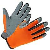 OZERO Echte Hirschleder Gemütlich Passen Leder Handschuhe für Gartenarbeit Arbeiten und Radfahren mit Touchscreen Fingerspitzen, Schweißabsorbierend und Atmungsaktiv Arbeitshandschuhe für Damen Herren (Orange-Rot,S)