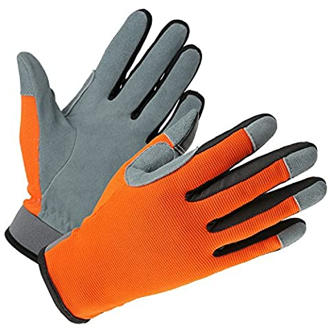 OZERO Working Gloves - Deerskin Light Gardening Gloves for Garden/Household/Automobile Repair/Handle - Sweat-absorbing and Touchscreen, Fit for Men & Women (OrangeRed-CadetBlue/Small)