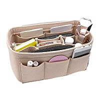 APSOONSELL Lightweight Felt Handbag Organiser, Purse Organiser, Insert and Liner for Everyday Use and Travel - Beige L