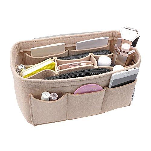 4 X Fell Filz (APSOONSELL - Taschenorganizer Bag in The Bag - Handtaschen Organizer - Beige - groß)