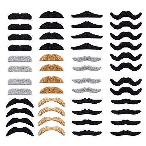 Whaline 48pcs Neuheit gefälschte Schnurrbart Selbstklebende Schnurrbärte Set für Maskerade Party Favor, Kostüm und Performance