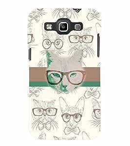 PrintVisa Animal Nerd Cat 3D Hard Polycarbonate Designer Back Case Cover for Samsung Galaxy Quattro Win i8552