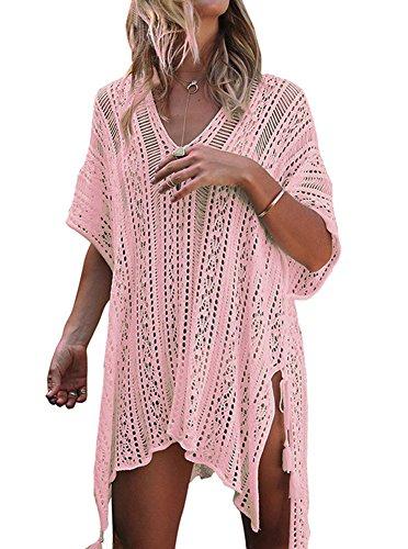 Damen Sommer Bademode Häkeln Badeanzug Schwimmen Strandkleid Strand Bikini Cover Up Boho Strandponcho Freie Größe Hell Pink
