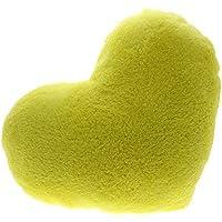 Fendii Almohada para sofá con forma de corazón, color verde, felpa, amarillo1, 38*30CM