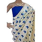 Harikrishnavilla Women's Latest Designer Party Wear New Collection Chanderi Cotton Bollywood Trendy Elegant 2018 Latest Designe Saree For Women With Bangalore Silk Unstitched Blouse ( Multi-Colour Butterfly, Free Size) - B07BJHBRFH