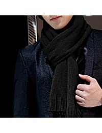 ZZHF Men's solid color scarf Spring autumnand and winter warm long scarf (Size: 175 * 30cm) Silk Scarves ( Color : Black , Size : 175*30cm )