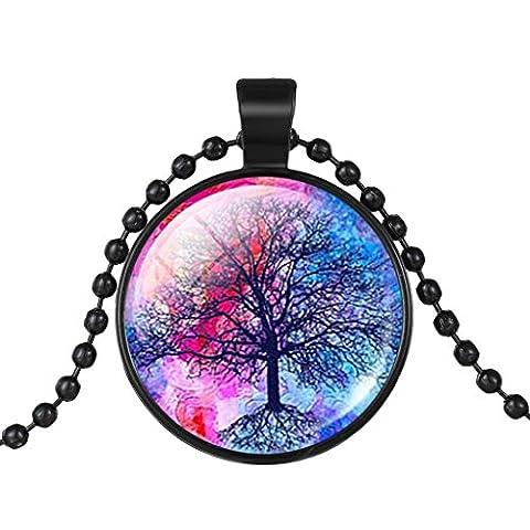 Duftessenzen Schwarz Baum Auf Dem Farbigen Hintergrund Halskette Für Frauen Geburtstagsgeschenk