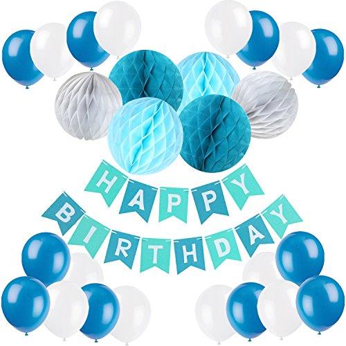 Recosis Eburtstag Dekoration, Happy Birthday Girlande mit Luftballons Latexballons und Wabenbälle Papier für Geburtstag Dekoration - Blau (Einfach Elsa Kostüm)