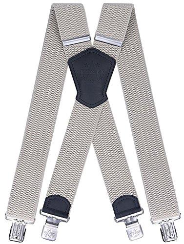 Ranger Hosenträger für Herren X förmige 5cm breit verstellbar und elastisch mit einem sehr starken Clips (Beige 1)