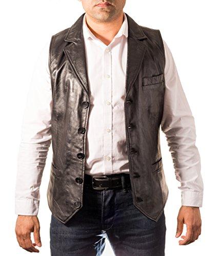 Hommes ŽlŽgant classique cinq boutons blazer en cuir classique veste / gilet Noir