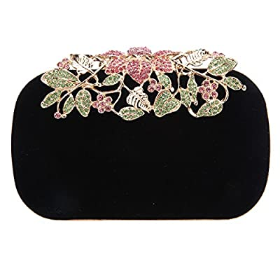 Bonjanvye Glitter Velvet Flower Clutch Daily Handbag for Girls