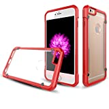 Coque iPhone 6S Plus 6 Plus, Rovy [2017] Transparent Transparen Clear Ultra-Mince Antichoc Shockproof Slip Proof 0.5mm Silicone&PC Bumper Coque Heavy Duty Cover pour iPhone 6 Plus 6S Plus - (Red)