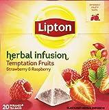 Lipton - Temptation Fruits - Infusión de hierbas con Frambuesa y Fresa - 20 Bolsitas