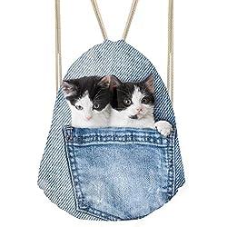 showudesigns Funny Denim gato perro cordón mochila niños adultos saco bolsa, Infantil, animal 6, medium